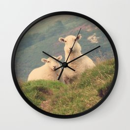 Sheep In The Wild Nature- Landscape Photography  Wall Clock