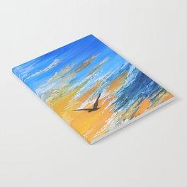 ocean sunset, original oil painting landscape, blue wall art, beach decor Notebook