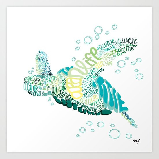 Typography Turtle  Art Print