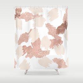 Modern rose gold faux glitter brushstrokes blush pink Shower Curtain