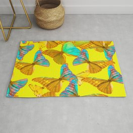 Butterflies - turquoise wings - yellow background #decor #society6 #buyart Rug