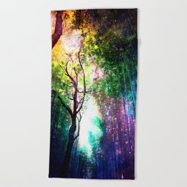 rainbow rain Beach Towel