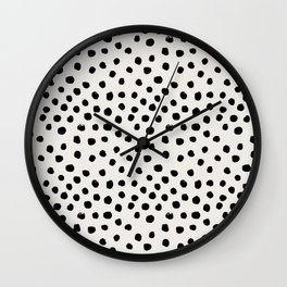 Preppy brushstroke free polka dots black and white spots dots dalmation animal spots design minimal Wall Clock