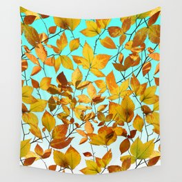 Autumn Leaves Azure Sky Wall Tapestry