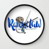 ravenclaw Wall Clocks featuring Ravenclaw The Intelligent by AliceInWonderbookland