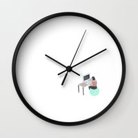 the office Wall Clocks featuring Office Bounce by Thoka Maer