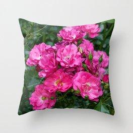 Pink Shrub Roses Throw Pillow