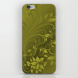 Green swirls leaves iPhone Skin