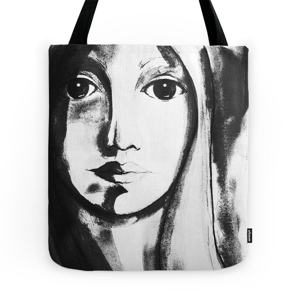 Black & White Woman Face Watercolor Tote Purse by cyracancel (TBG7595116) photo