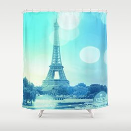 Paris Bokeh Aqua Shower Curtain
