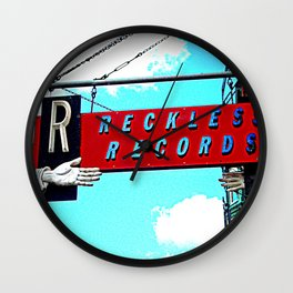 Reckless Records ~ chicago sign Wall Clock