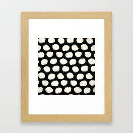 Trendy Cream Polka Dots on Black Framed Art Print