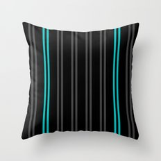 Charcoal Gray/Teal/Black Vertical Stripes Throw Pillow