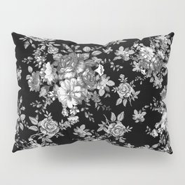 Black And White Floral Pattern Pillow Sham