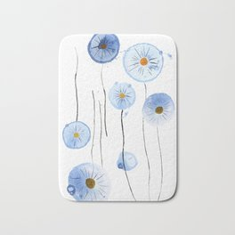blue abstract dandelion 2 Bath Mat