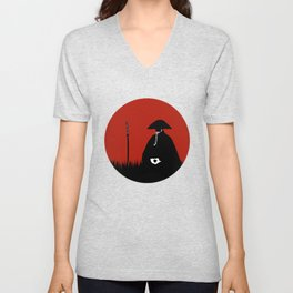 Meditating Samurai Warrior Unisex V-Neck