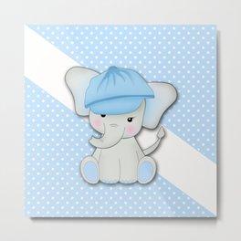 Cute cartoon elephant on a blue background with white polka dots. Metal Print