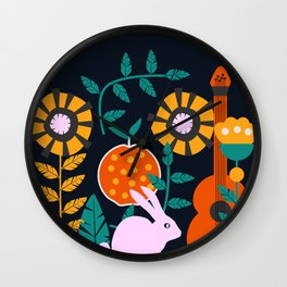 Music and a little rabbit Wall Clock
