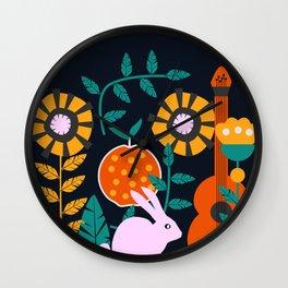 Music and a little rabbit Wall Clock