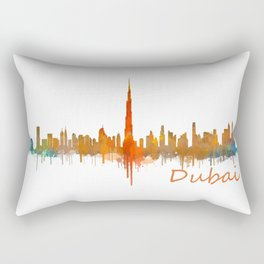 Dubai, emirates, City Cityscape Skyline watercolor art v2 Rectangular Pillow