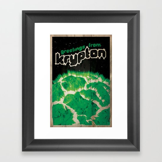 Greetings from Krypton | Defunct Planets Series No. 2 Framed Art Print