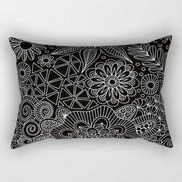 Black Doodle Pattern Rectangular Pillow