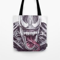 venom Tote Bags featuring Venom by DeMoose_Art