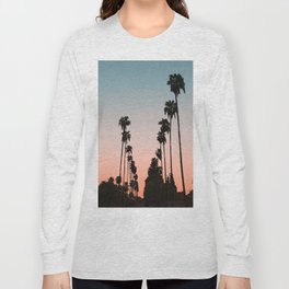 California Sunset // Palm Tree Silhouette Street View Orange and Blue Color Sky Beach Photography Long Sleeve T-shirt
