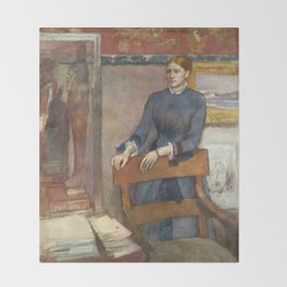 Helene Rouart in her Father's Study by Edgar Degas Throw Blanket