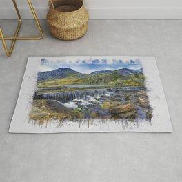 Snowdonia Tryfan Painting Rug
