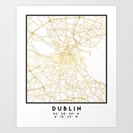 DUBLIN IRELAND CITY STREET MAP ART Art Print