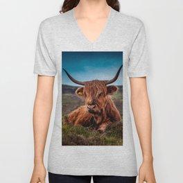 Scottish Highland longhorns Rancher Unisex V-Neck