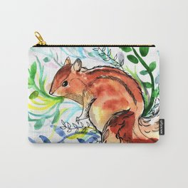 Cute Korea squirrel in sping flowers Carry-All Pouch