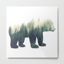 Misty Forest Bear Metal Print