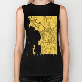 Burlington map yellow Biker Tank