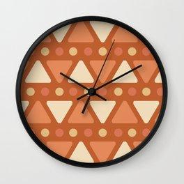 Mid Century Modern Triangles Dots Dark Orange Wall Clock