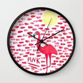 Pink Pretty Flamingo Pattern Wall Clock