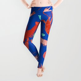Dance of the Crustaceans in Ocean Blue Leggings