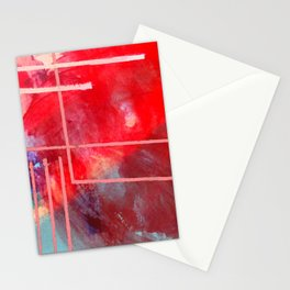 Jubilee: a vibrant abstract piece in reds and pinks Stationery Cards