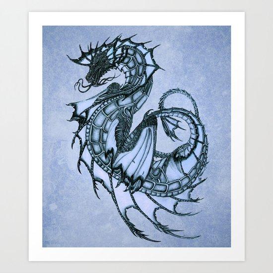 """Tsunami"" by Amber Marine ~ Sea Dragon (Ice Blue Version) ~ Graphite/Charcoal Illustration, (c) 2005 Art Print"