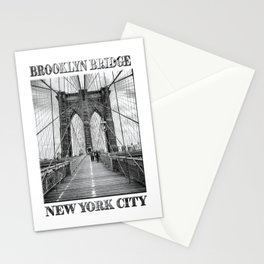 Brooklyn Bridge New York City (black & white edition with text) Stationery Cards