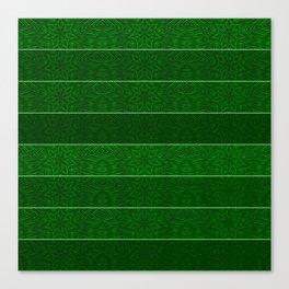 Green Snowflake Stripes Canvas Print
