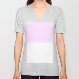 White and Pastel Violet Horizontal Halves Unisex V-Neck