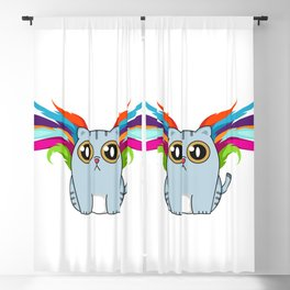 Cute Cat With Colorful Wings Blackout Curtain