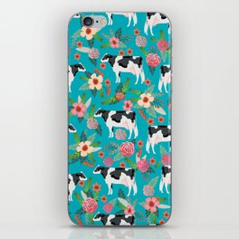 Holstein cattle farm animal cow floral iPhone Skin
