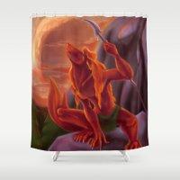 werewolf Shower Curtains featuring Red Werewolf by PlaidRed