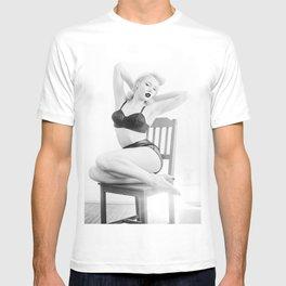 Pinup Femme Fatale Model in Lingerie T-shirt