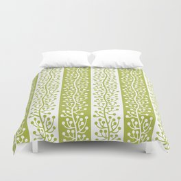 Mid Century Modern Berry Vine Stripes Chartreuse Duvet Cover