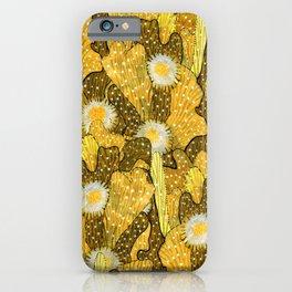 Cacti Camouflage, Floral Pattern, Golden Husk iPhone Case