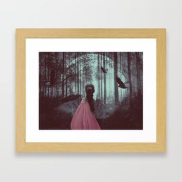 Crow Lady With Moon Framed Art Print